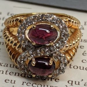 New Sterling Silver Gold Garnet Amethyst Ring Sz 7